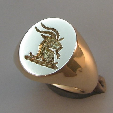goats head crest ring made from sentimental gold