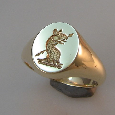 Griffin crest oval signet ring